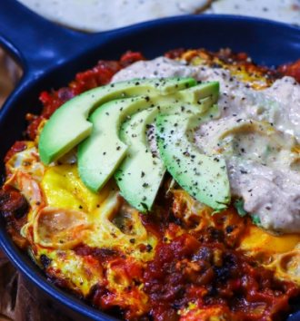 AVO Shakshuka with harissa avocado yoghurt