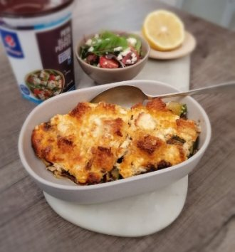 Clover Feta and Pilchards Breakfast Strata